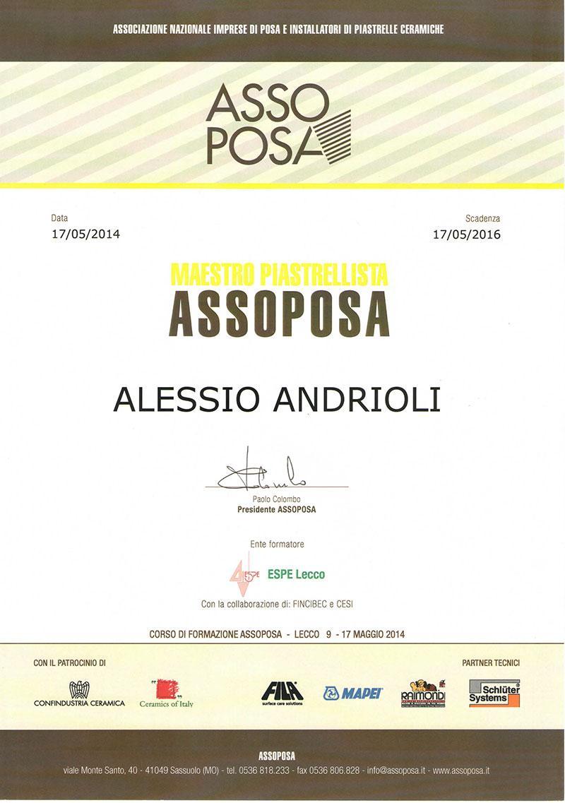 Attestato maestro Posatore Alessio Andrioli